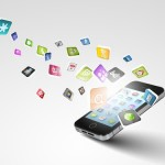 17867022 - media technology illustration with mobile phone and icons