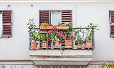 42635235 - balcony with flowers in rome's city center
